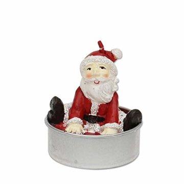 Dekohelden24 6er Set Teelicht Weihnachtsmann, Maße je Teelicht L/B / H: 4 x 4 x 6 cm. - 2