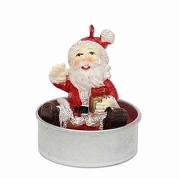 Dekohelden24 6er Set Teelicht Weihnachtsmann, Maße je Teelicht L/B / H: 4 x 4 x 6 cm. - 3