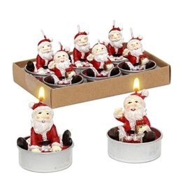 Dekohelden24 6er Set Teelicht Weihnachtsmann, Maße je Teelicht L/B / H: 4 x 4 x 6 cm. - 1