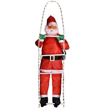 Deuba LED Weihnachtsmann auf Leiter XXL 240cm für In-/Outdoor 8 Leuchtfunktionen Santa Claus Nikolaus Weihnachten - 3