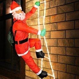 Deuba LED Weihnachtsmann auf Leiter XXL 240cm für In-/Outdoor 8 Leuchtfunktionen Santa Claus Nikolaus Weihnachten - 1