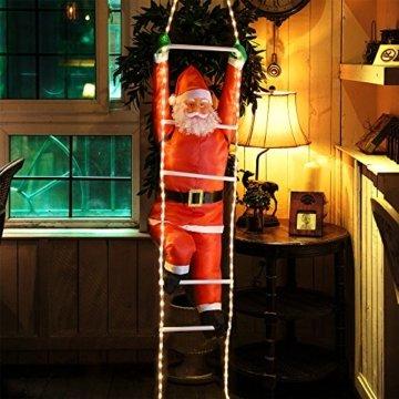 Deuba LED Weihnachtsmann auf Leiter XXL 240cm für In-/Outdoor 8 Leuchtfunktionen Santa Claus Nikolaus Weihnachten - 5