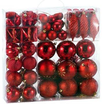 Deuba Weihnachtskugeln 103 Set Rot Aufhänger Christbaumschmuck Christbaumkugeln Weihnachtsbaumkugeln Weihnachtsbaumschmuck - 1