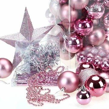 Deuba Weihnachtskugeln Rosa 77 Christbaumschmuck Aufhänger Christbaumkugeln für den Weihnachtsbaum Weihnachtsbaumschmuck Weihnachtsbaumkugeln - 5