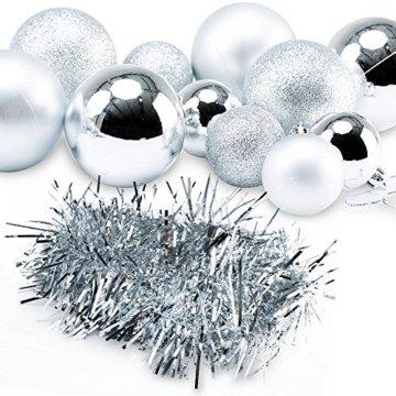 Deuba Weihnachtskugeln Silber 77 Christbaumschmuck Aufhänger Christbaumkugeln für den Weihnachtsbaum Weihnachtsbaumschmuck Weihnachtsbaumkugeln - 2