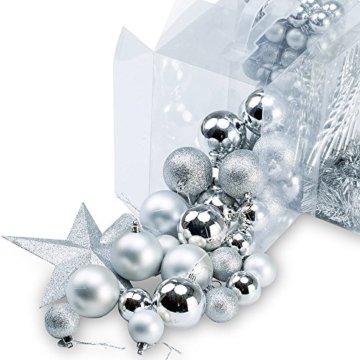 Deuba Weihnachtskugeln Silber 77 Christbaumschmuck Aufhänger Christbaumkugeln für den Weihnachtsbaum Weihnachtsbaumschmuck Weihnachtsbaumkugeln - 3