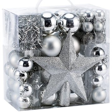 Deuba Weihnachtskugeln Silber 77 Christbaumschmuck Aufhänger Christbaumkugeln für den Weihnachtsbaum Weihnachtsbaumschmuck Weihnachtsbaumkugeln - 1