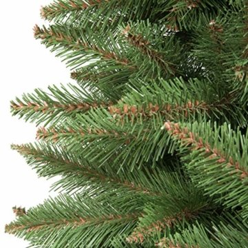 FairyTrees künstlicher Weihnachtsbaum FICHTE Natur, grüner Stamm, Material PVC, inkl. Holzständer, 180cm, FT01-180 - 2