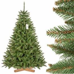 FairyTrees künstlicher Weihnachtsbaum FICHTE Natur, grüner Stamm, Material PVC, inkl. Holzständer, 180cm, FT01-180 - 1