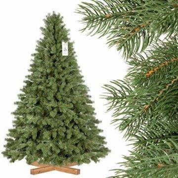 FairyTrees künstlicher Weihnachtsbaum KÖNIGSFICHTE Premium, Material Mix aus Spritzguss & PVC, inkl. Holzständer, 180cm, FT18-180 - 1