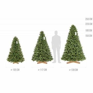 FairyTrees künstlicher Weihnachtsbaum KÖNIGSFICHTE Premium, Material Mix aus Spritzguss & PVC, inkl. Holzständer, 180cm, FT18-180 - 8