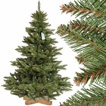 FairyTrees Weihnachtsbaum künstlich NORDMANNTANNE, grüner Stamm, Material PVC, inkl. Holzständer, 150cm - 1