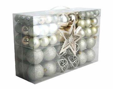 Geschenkestadl 1722S 100 Weihnachtskugeln und Baumspitze Stern (Creme) - 1