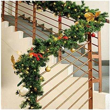 GHONLZIN Girlande für Weihnachtsschmuck, 8.8ft Girlande für Weihnachten künstliche Kiefernadeln Dekorationen für Urlaub Hochzeitsfeier - 2