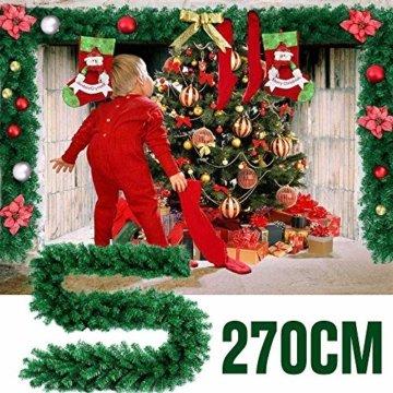 GHONLZIN Girlande für Weihnachtsschmuck, 8.8ft Girlande für Weihnachten künstliche Kiefernadeln Dekorationen für Urlaub Hochzeitsfeier - 4