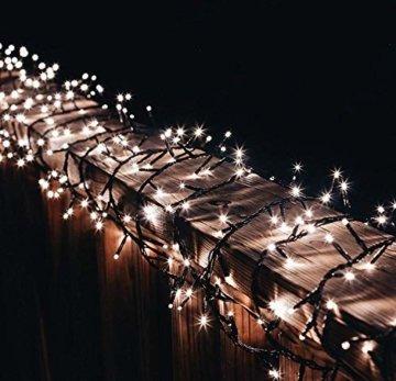 gresonic-Led-Cluster-15m lang-Lichterkette-Strombetrieb Deko für Innen Außen Garten Weihnachtsbaum Hochzeit (Warmweiss Dauerlicht, 750LED) - 1