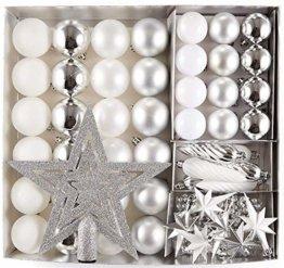 HEITMANN DECO 50er Set Christbaumkugeln Christbaumschmuck mit Stern Spitze - Kunststoff Weihnachtsschmuck Weiß Silber zum Aufhängen - 1