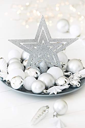 HEITMANN DECO 50er Set Christbaumkugeln Christbaumschmuck mit Stern Spitze - Kunststoff Weihnachtsschmuck Weiß Silber zum Aufhängen - 4