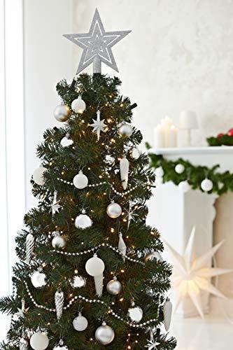 HEITMANN DECO 50er Set Christbaumkugeln Christbaumschmuck mit Stern Spitze - Kunststoff Weihnachtsschmuck Weiß Silber zum Aufhängen - 5