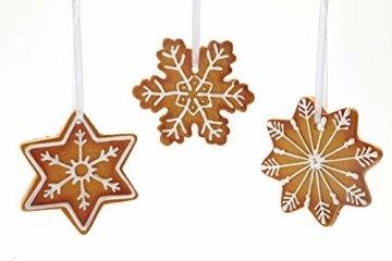 HEITMANN DECO Christbaumschmuck Lebkuchen mit Zuckerguss - Sterne Schneekristalle Weihnachtsdeko - 6-teilig - 2
