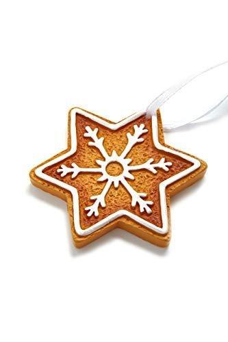 HEITMANN DECO Christbaumschmuck Lebkuchen mit Zuckerguss - Sterne Schneekristalle Weihnachtsdeko - 6-teilig - 3