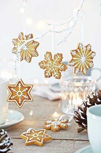 HEITMANN DECO Christbaumschmuck Lebkuchen mit Zuckerguss - Sterne Schneekristalle Weihnachtsdeko - 6-teilig - 5