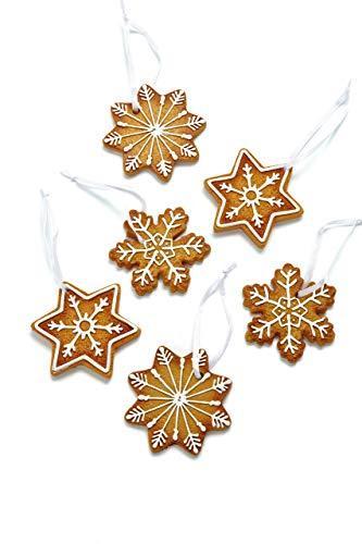 HEITMANN DECO Christbaumschmuck Lebkuchen mit Zuckerguss - Sterne Schneekristalle Weihnachtsdeko - 6-teilig - 1