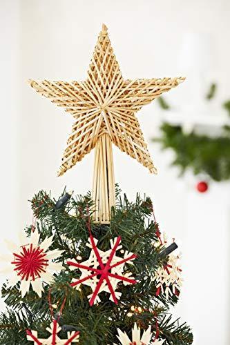 HEITMANN DECO Stroh-Baumspitze 25 cm Natur - Christbaumspitze Stern aus Stroh - Christbaumschmuck aus natürlichem Material - 2
