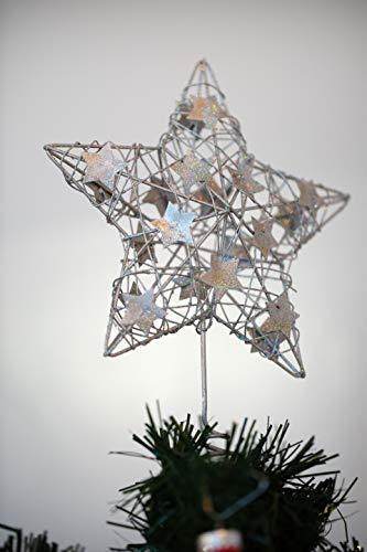 Heitmann Deco Weihnachtsbaum-Spitze - Metall-Baumspitze Stern in silber - glitzernder Blickfang für den Christbaum - 5