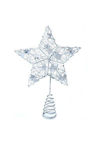 Heitmann Deco Weihnachtsbaum-Spitze - Metall-Baumspitze Stern in silber - glitzernder Blickfang für den Christbaum - 1