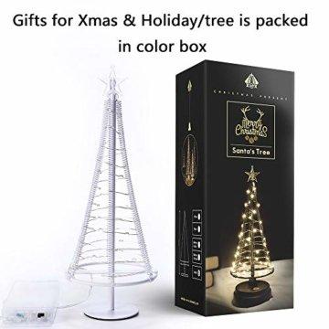 HONESTY Mini Weihnachtsbaum , künstlicher Weihnachtsmann mit Stern, Bäumen mit flacher Platte und batteriebetriebenem Haus für den Innenbereich, Tischlampe und Dekoration, metall, weiß, S - 3