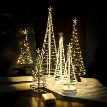 HONESTY Mini Weihnachtsbaum , künstlicher Weihnachtsmann mit Stern, Bäumen mit flacher Platte und batteriebetriebenem Haus für den Innenbereich, Tischlampe und Dekoration, metall, weiß, S - 4