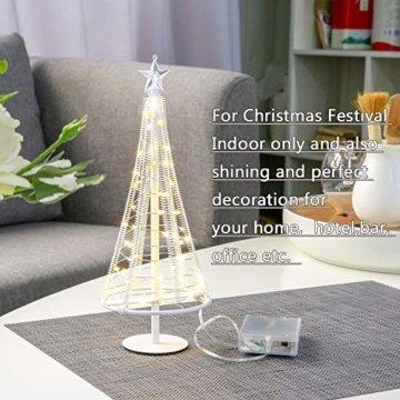 HONESTY Mini Weihnachtsbaum , künstlicher Weihnachtsmann mit Stern, Bäumen mit flacher Platte und batteriebetriebenem Haus für den Innenbereich, Tischlampe und Dekoration, metall, weiß, S - 1
