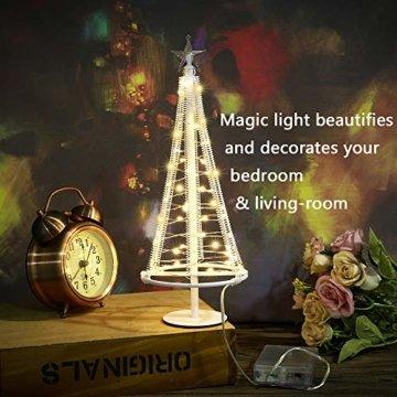 HONESTY Mini Weihnachtsbaum , künstlicher Weihnachtsmann mit Stern, Bäumen mit flacher Platte und batteriebetriebenem Haus für den Innenbereich, Tischlampe und Dekoration, metall, weiß, S - 6