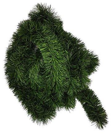 Ilkadim 1 Stück Tannengirlande 5 oder 10m lang, Dekogirlande 8-10cm, Girlande Weihnachten (10 Meter) - 1