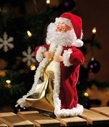 infactory Nikolaus: Singender, Tanzender Weihnachtsmann Swinging Santa, 28 cm (Tanzender Weihnachtsmann mit Musik) - 4