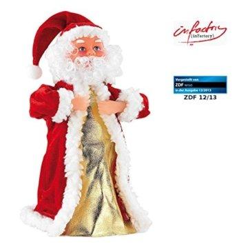 infactory Nikolaus: Singender, Tanzender Weihnachtsmann Swinging Santa, 28 cm (Tanzender Weihnachtsmann mit Musik) - 1