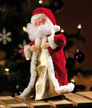infactory Nikolaus: Singender, Tanzender Weihnachtsmann Swinging Santa, 28 cm (Tanzender Weihnachtsmann mit Musik) - 5