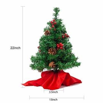 JOYIN 50.8cm Mini Künstlicher Weihnachtsbaum, LED Beleuchtung Christbaum mit Tannenzapfen und rote Beere für Weihnachtsdekoration Zuhause und im Büro - 3