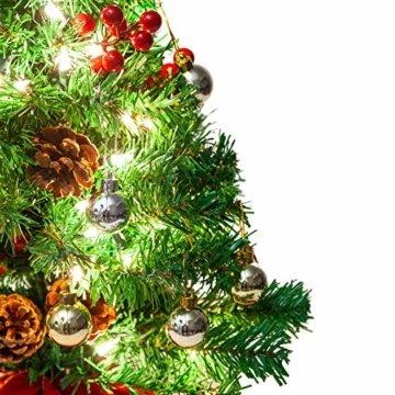 JOYIN 50.8cm Mini Künstlicher Weihnachtsbaum, LED Beleuchtung Christbaum mit Tannenzapfen und rote Beere für Weihnachtsdekoration Zuhause und im Büro - 4