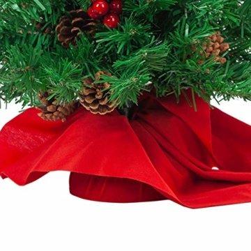 JOYIN 50.8cm Mini Künstlicher Weihnachtsbaum, LED Beleuchtung Christbaum mit Tannenzapfen und rote Beere für Weihnachtsdekoration Zuhause und im Büro - 5