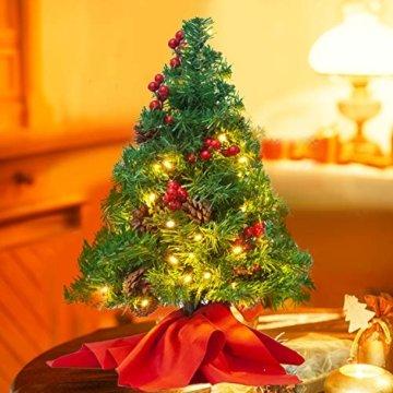 JOYIN 50.8cm Mini Künstlicher Weihnachtsbaum, LED Beleuchtung Christbaum mit Tannenzapfen und rote Beere für Weihnachtsdekoration Zuhause und im Büro - 6