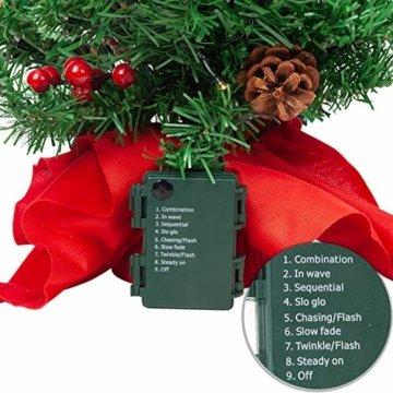 JOYIN 50.8cm Mini Künstlicher Weihnachtsbaum, LED Beleuchtung Christbaum mit Tannenzapfen und rote Beere für Weihnachtsdekoration Zuhause und im Büro - 7