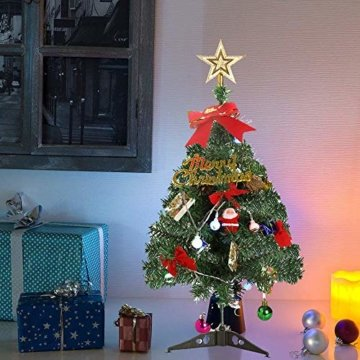 Klein Künstlicher Weihnachtsbaum mit LED Beleuchtung - Motent 60cm Christbaum mit Ständer und Weihnachtsschmuck Mini Tannenbaum DIY Weihnachten Dekoration für Hause Küche Party Festival Winter - 3