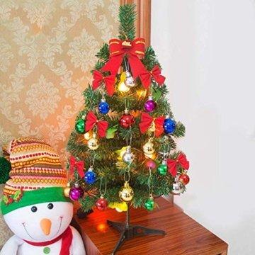 Klein Künstlicher Weihnachtsbaum mit LED Beleuchtung - Motent 60cm Christbaum mit Ständer und Weihnachtsschmuck Mini Tannenbaum DIY Weihnachten Dekoration für Hause Küche Party Festival Winter - 5