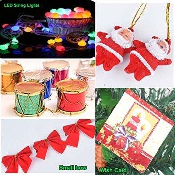 Klein Künstlicher Weihnachtsbaum mit LED Beleuchtung - Motent 60cm Christbaum mit Ständer und Weihnachtsschmuck Mini Tannenbaum DIY Weihnachten Dekoration für Hause Küche Party Festival Winter - 7