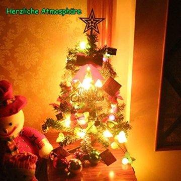 Klein Künstlicher Weihnachtsbaum mit LED Beleuchtung - Motent 60cm Christbaum mit Ständer und Weihnachtsschmuck Mini Tannenbaum DIY Weihnachten Dekoration für Hause Küche Party Festival Winter - 8