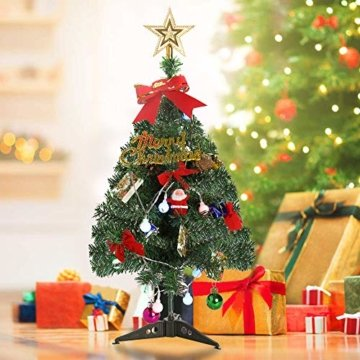 Klein Künstlicher Weihnachtsbaum mit LED Beleuchtung - Motent 60cm Christbaum mit Ständer und Weihnachtsschmuck Mini Tannenbaum DIY Weihnachten Dekoration für Hause Küche Party Festival Winter - 9