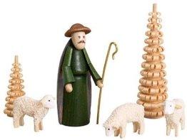 Krippenfiguren bunt – Hirte, Schafe, Spanbäumchen – Weihnachtsfiguren - Holzfiguren – Höhe 6,5 cm - Erzgebirge - NEU - 1