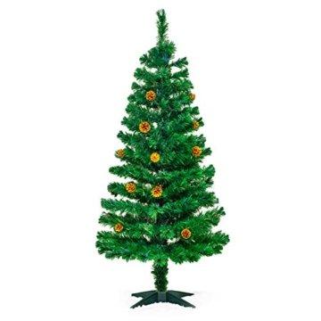 Künstlicher Glasfaser Weihnachtsbaum 150 cm mit LED Beleuchtung und echten vergoldete Zapfen Christbaum Tannenbaum - 3